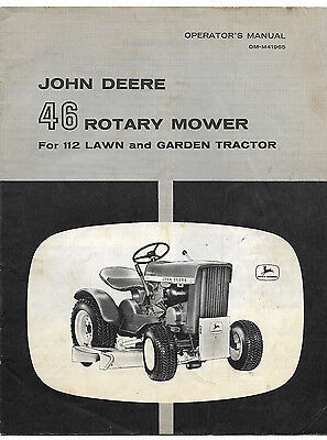 1960's John Deere 46 Rotary Mower Operator's Manual 112 Lawn And Garden Tractor