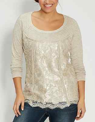 MAURICES BEIGE EMBELLISHED W/ LACE LONG SLEEVE FRENCH TERRY PULLOVER PLUS Sz 1X