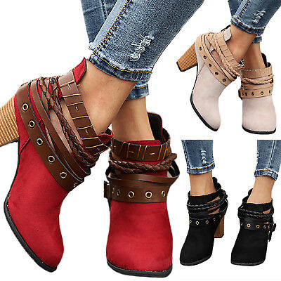 Womens Ladies Ankle Boots Ladies Strappy Mid Block Heel Martin Zipper Shoes Size