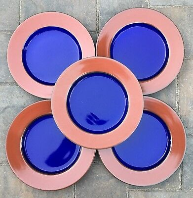 "Lindt Stymeist YO HAN Rust Cobalt Set of 5 Luncheon Plates 9"" Diameter"