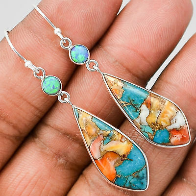 Vintage 925 Silver Opal Turquoise Party Dangle Drop Earrings Lady Jewelry Gift