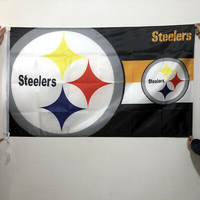 "NFL Pittsburgh Steelers ""Double Logo"" Banner Flag 3X5FT 2-Grommets Polyester/074"
