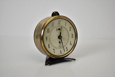 Vintage JAZ Crescendo Art Deco Mechanical Alarm Clock France 1950's