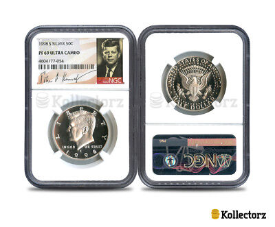 1998 S Silver Kennedy 50C Ngc Pf69 Ultra Cameo Portrait Label
