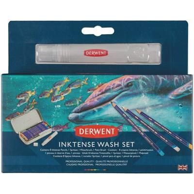 Derwent Inktense Wash Set - Water Soluble Colour Pencils, Spritzer, Brush & Tin