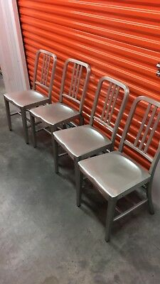 Four Goodform Navy Aluminum Chairs by the General Fireproofing co.