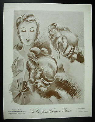 The hairstyle french illustrated Fashion antique 1939 poster poster, 32 cm
