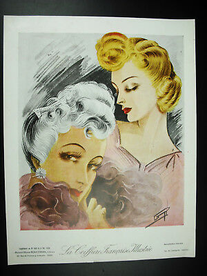 The hairstyle french illustrated Fashion antique 1939 poster poster: 32 cm