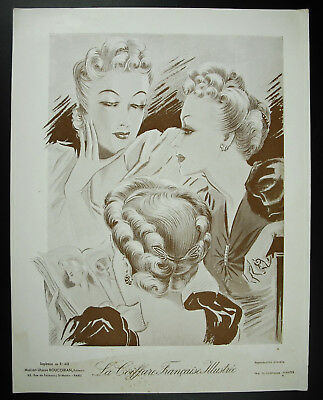 The hairstyle french illustrated Fashion antique 1939 poster poster. 32 cm