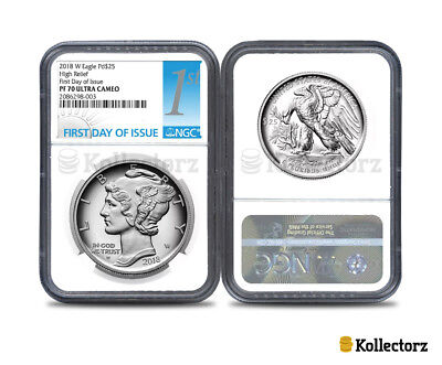2018 W PALLADIUM EAGLE Pd$25 HIGH RELIEF NGC PF70 ULTRA CAMEO FIRST DAY OF ISSUE