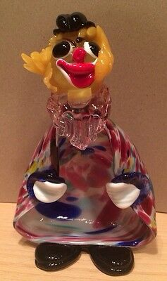 Vintage Murano Italian Art Glass Clown Figurine Bowl - Hand Blown