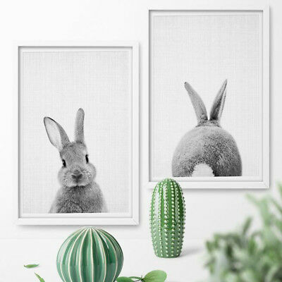 Modern Oil Painting Bunny Rabbit Canvas Home Decor For Living Room Wall Art