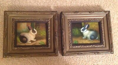 Pair of original antique Country French oil paintings on board of rabbits