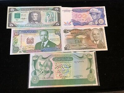 5 Banknotes from Africa Crisp UNC .99c NO RESERVE