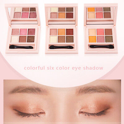 NEW 6 Colors Pro Eyeshadow Shimmer Mate Palette Cosmetic Brush Mirror Makeup Set