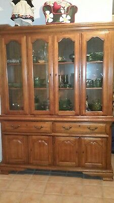 Oak china cabinet hutch