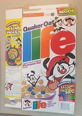 Vintage Quaker Oat Life Cereal Box Featuring The Animaniacs 1996 77A
