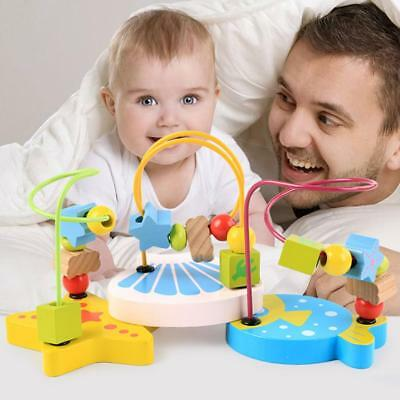 Baby Kids Wooden Colorful Mini Around Beads Wire Maze Educational Game Toy FW
