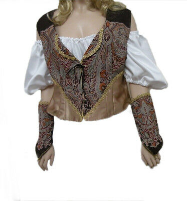 Renaissance Medieval Pirate Wrench Peasant Costume Top & Chemise Vest Size 14-16