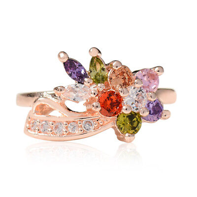 1PC Fashion Women Colorful Rose Gold Wedding Party Finger Rings Jewelry Gift