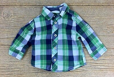 First Impressions Infant Baby Boy's Blue Green Plaid Shirt Size 3-6 Months