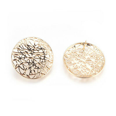10pcs Gold Plated Brass Filigree Earring Posts Round Findings Nickel Free 27.5mm