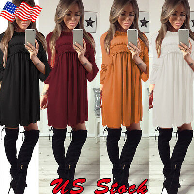 Womens Long Sleeve Casual Loose Casual Holiday Sweater Party Tunic Mini Dress US