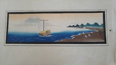 Antique Japanese Matsumoto Watercolour Painting Mount Fuji