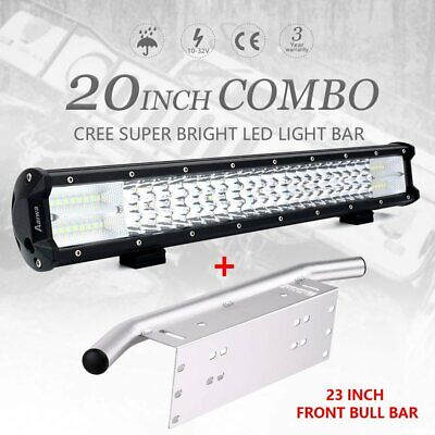 20 inch CREE LED Light Bar 3 Row Spot Flood Work Driving 23'' Number Plate Frame