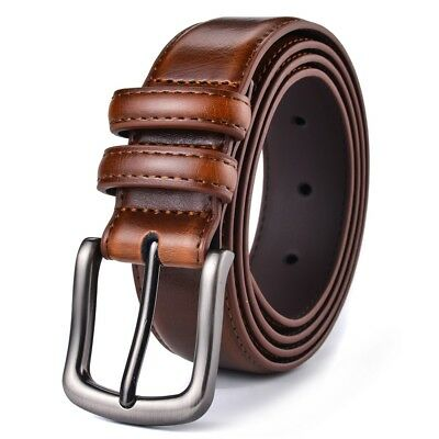 """Mens Belt Genuine Leather Dress Belt Casual 1 1/4"""" Wide With Single Prong Buckle"""