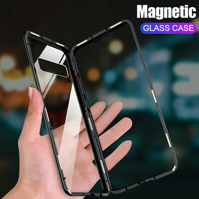 Magnetic Adsorption Metal Frame+Glass Cover Phone Case For Samsung S8 9 Note 8 9