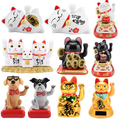 Solar Powered Chinese Lucky Waving Beckoning Fortune Waving Hand Cat Home Decor