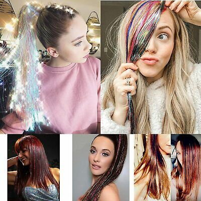2 Pack  Long Sparkle Holographic Glitter Extensions Highlights Party 300 Strands