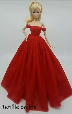New Barbie doll clothes outfit princess wedding gown dress red and shoes