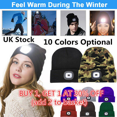 Unisex LED Beanie Hat With USB Rechargeable Battery 5 Hours High Powered Light D