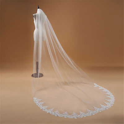 1T Cathedral Long Wedding Bridal Veil With Comb Lace Edge Applique Promotion New