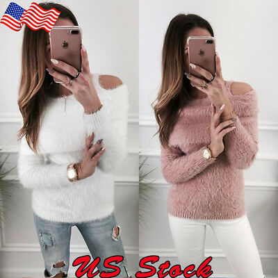 Womens Winter Warm Off-Shoulder Long Sleeve Faux Fur Sweater Casual Blouse Tops