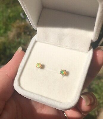 BARGAIN! Natural Ethiopian Opal 4mm facet claw sterling silver stud earrings 🍭