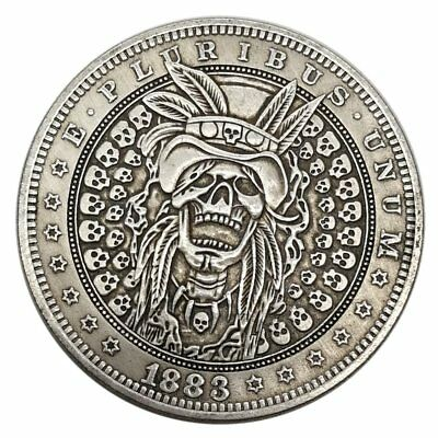 US Skull Hobo Tribal Zombie Ripper E Pluribus Omega LV Morgan Silver Dollar COIN