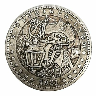 US Hobo Zombie Skull Pirate Nickel Morgan Novelty Dollar Metal Silver Stamp COiN