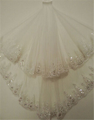 2T Sequins Bridal Wedding Veil With Comb Lace Edge Elbow Length White/Ivory New