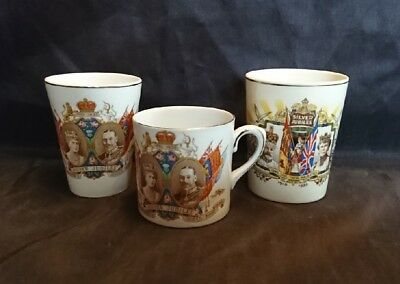 *JOB LOT Of 3 VINTAGE COMMEMORATIVE MUGS KING GEORGE V Silver Jubilee 1935*
