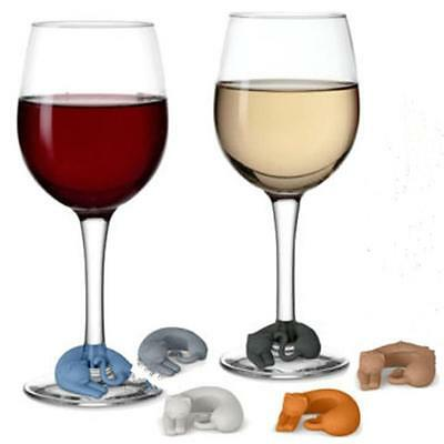 6Pcs Wine Lives Silicone Wine Markers Cocktail Drink Party Wine Markers MA
