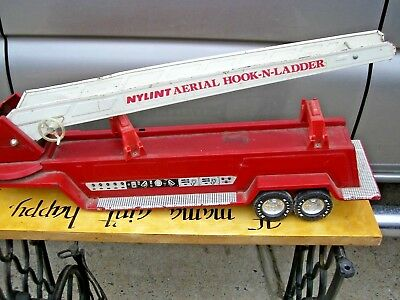 Vintage Nylint Pressed Steel Aerial Hook And Ladder Fire Truck Trailer Only
