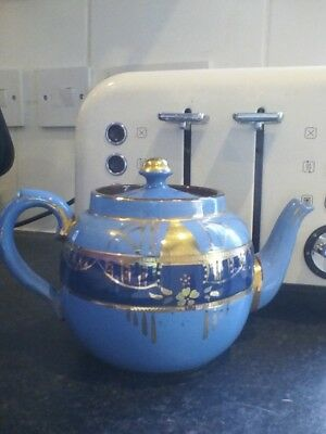 Vintage Price Bros large tea pot blue and gold lustre hand painted flowers