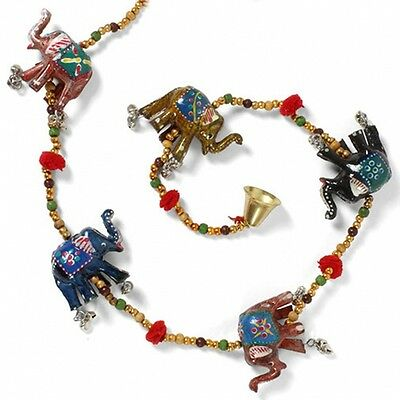 Lucky Elephant Hanging Bell String Decoration Handmade Indian Bead Charm Puppet
