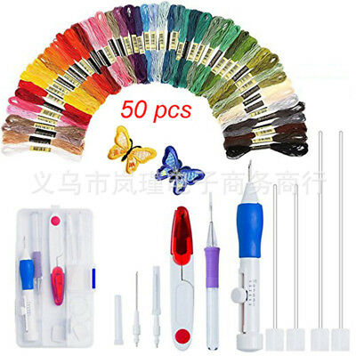 1 Set Magic Embroidery Crafts Pen Punch Needle Weaving Sewing Tools Knitting Kit