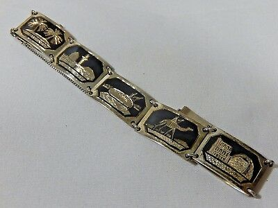 "Art Deco Egyptian Revival 800 Silver Niello Scene Panel 6 5"" Bracelet W S. Chain"