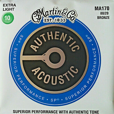1 SATZ MARTIN MA-170 Authentic Acoustic Westerngitarren-Saiten 80/20 Bronze 010