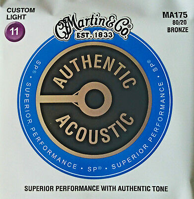 1 SATZ MARTIN MA-175 Authentic Acoustic Westerngitarren-Saiten 80/20 Bronze 011